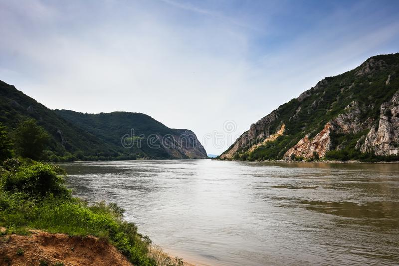 Danube river gorge in national park Djerdap in Serbia. Serbian and Romanian border stock photography