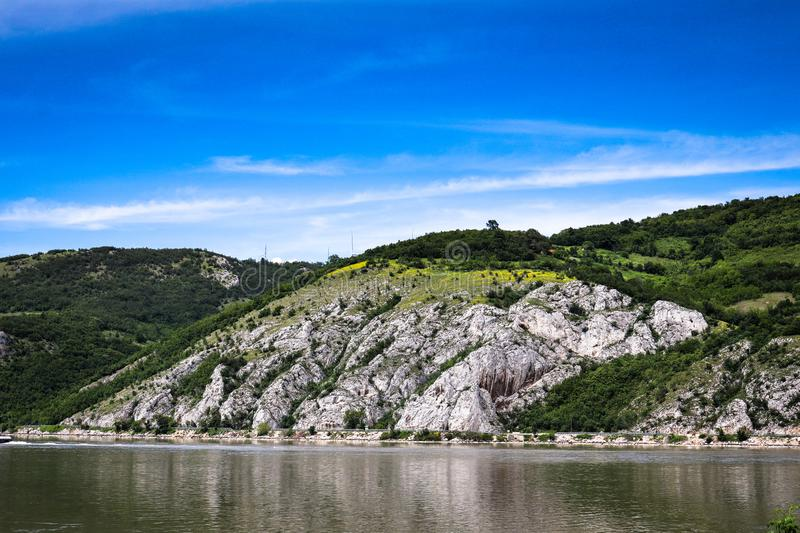 Danube river gorge in national park Djerdap in Serbia. Serbian and Romanian border stock images