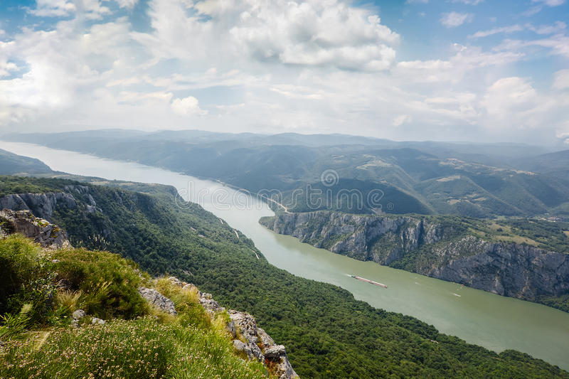 Danube river at Iron Gate gorge. Danube in Djerdap National park, Serbia. Danube gorge iron gate on the Serbian-Romanian border. Aerial View stock photos