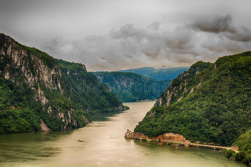 Danube River Iron Gate. Narrowest part of the gorge on the Danube between Serbia and Romania, also known as the Iron Gate stock photos