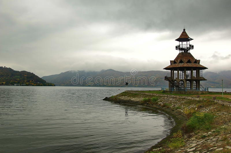 Danube river landscape. Landscapa from Danube river on a rainy and cloudy day in Orsova, Romania stock images