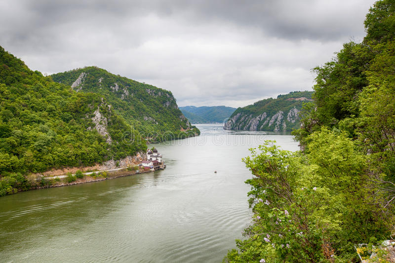 Danube river landscape. Serbia and Romania border ,narrowest part of the gorge on the Danube , also known as the Iron Gate royalty free stock photos