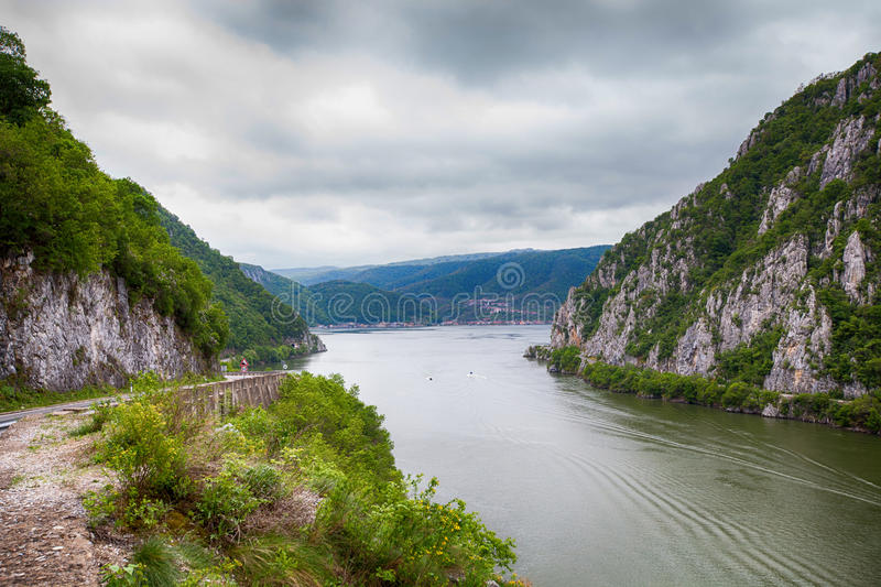 Danube river landscape. Serbia and Romania border ,narrowest part of the gorge on the Danube , also known as the Iron Gate stock photos