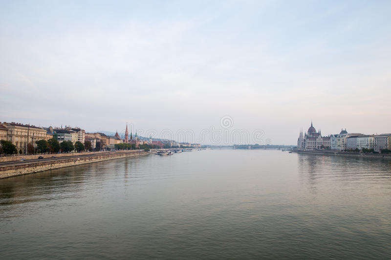 Danube river - panorama. Danube in Budapest Hungary. View of the Danube in Budapest. Embankment of Danube River Budapest royalty free stock photography