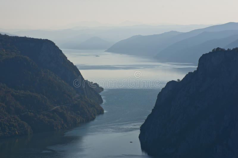 Danube river from the top of the Djerdap gorge at the narrowest place. Serbia stock images