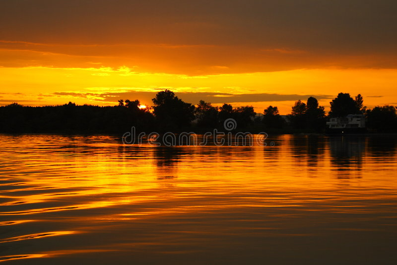 Danube Sunset royalty free stock photo