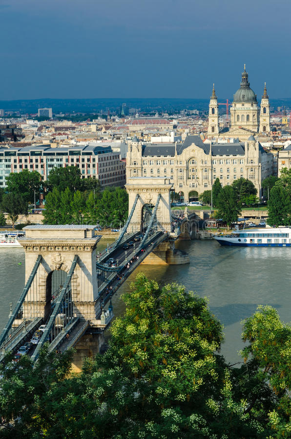 Danube and Szechenyi Chain Bridge, Budapest. The Szechenyi Chain Bridge is a suspension bridge that spans the River Danube between Buda and Pest stock images