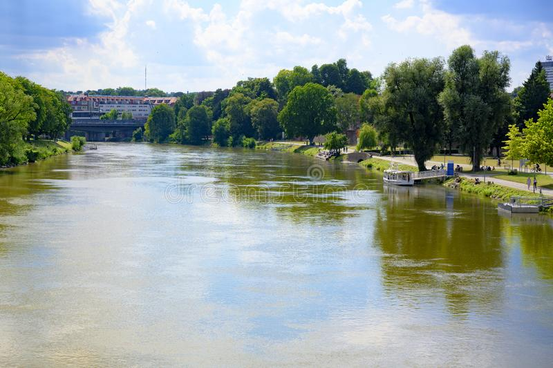 Danuber river between Ulm and Neu-Ulm, Bavaria, South of Germany royalty free stock images