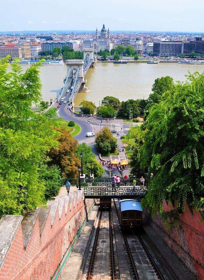 Danubet River, Széchenyi den Chain bron bergbanan för Budapest slottkulle och staden arkivfoto