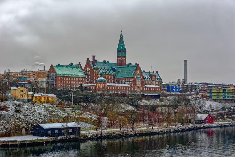 Danvikshem in Nacka outside. STOCKHOLM, SWEDEN - Dec 15, 2018: Danvikshem, designed by Aron Johansson, grand old building housing retirement home, on the royalty free stock images