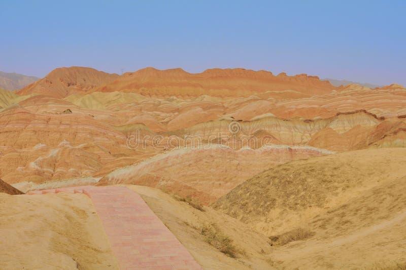 Danxia czerwony piaskowiec w krajowym geopark Zhangye, Gansu, Chiny fotografia stock