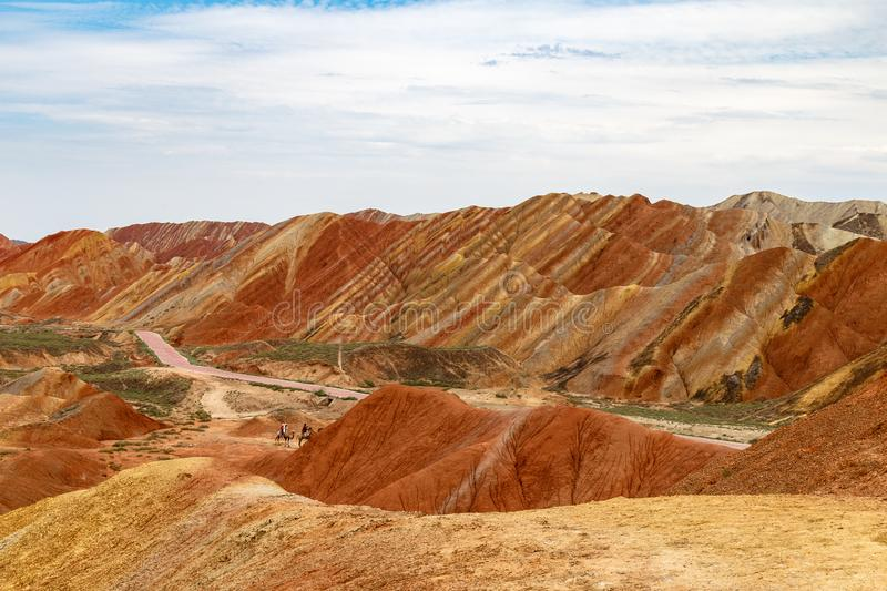 Danxia Feng, or Colored Rainbow Mountains, in Zhangye, Gansu, China. Here the view from the Colorful clouds observation deck royalty free stock photos
