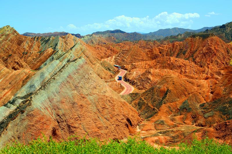 Danxia Geological Park, Zhangye, Gansu Province, China. Zhangye Danxia Geological Park is located in the north foot of Qilian Mountain, located 30 kilometers royalty free stock images