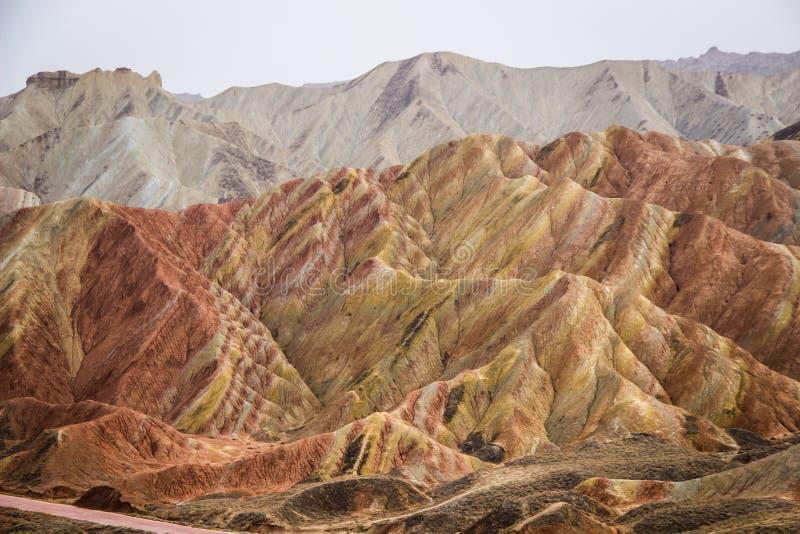 Danxia Rainbow Mountains, Zhangye, Gansu Province, China. Danxia Rainbow Mountains, National Geopark of Zhangye, Gansu Province, China stock images