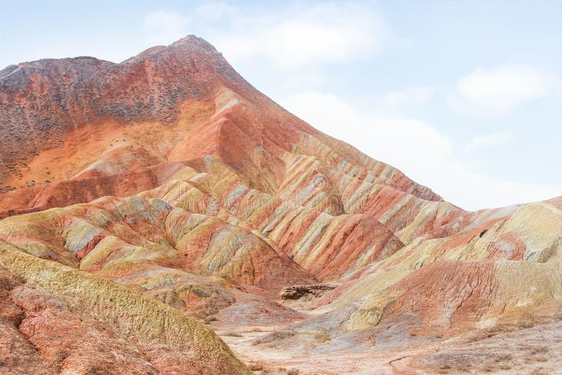 Danxia Rainbow Mountains, Zhangye, Gansu Province, China. Danxia Rainbow Mountains, Zhangye, landmark at Gansu Province, China stock image