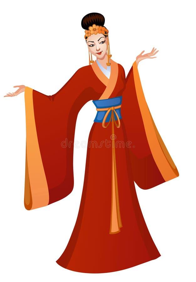 Danza étnica de la princesa del chino de la historieta ilustración del vector