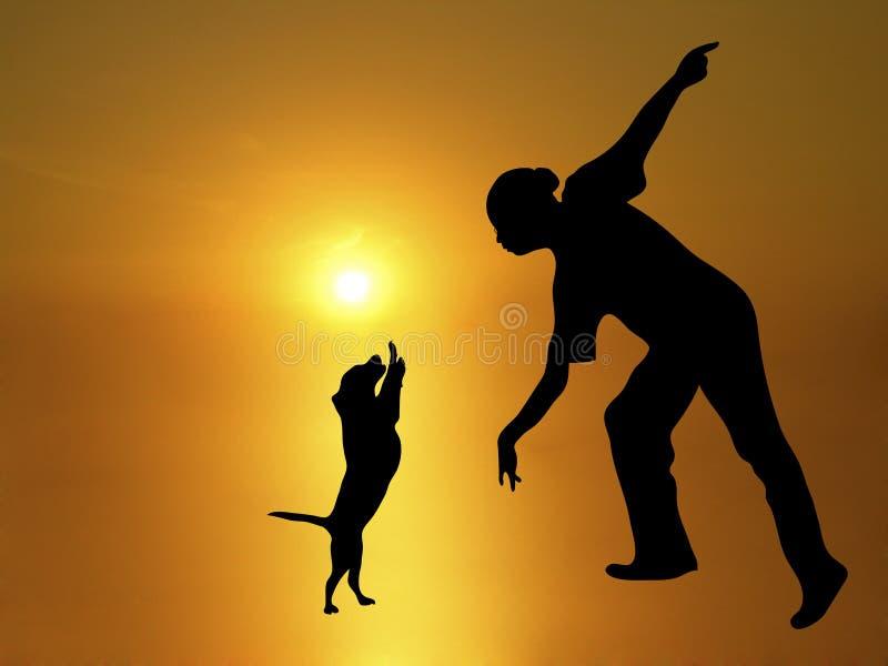 Danza 2 del perro stock de ilustración