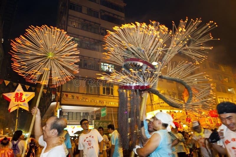 Danza 2012 del dragón del fuego de la caída del Tai imágenes de archivo libres de regalías