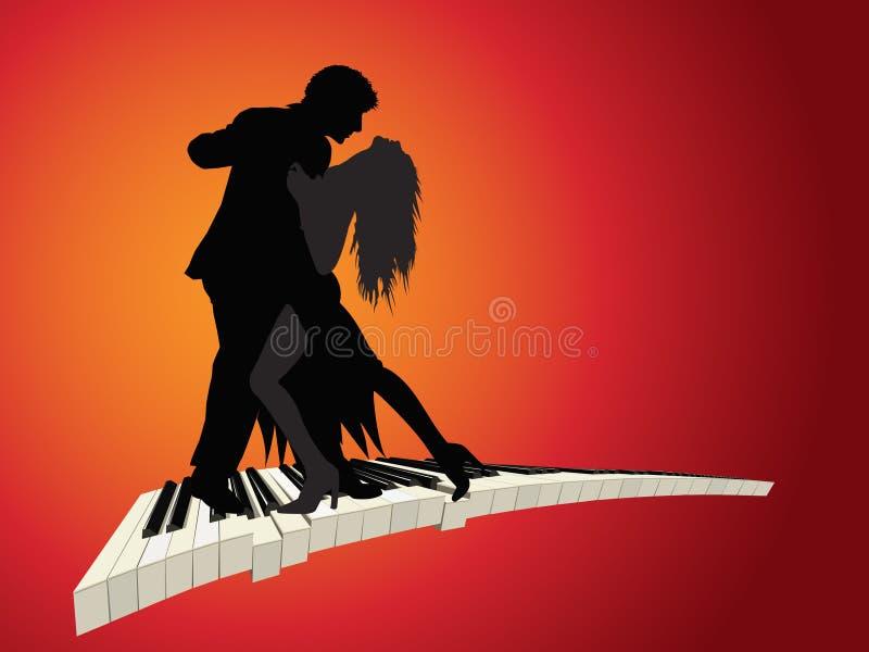 Danza apasionada del piano stock de ilustración