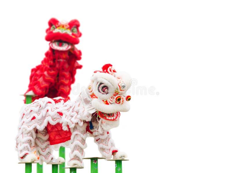 Danza china del traje del león imagenes de archivo