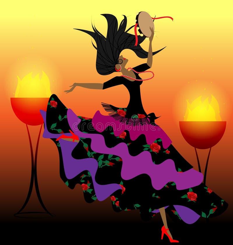 danza con una pandereta libre illustration