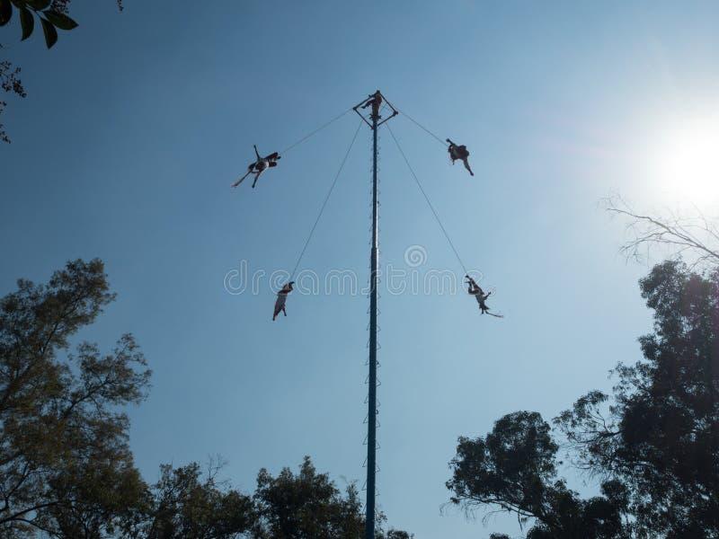 Danza de los Voladores Dance of the Flyers, Palo Volador flying pole, ceremony, ritual. Mexico City, Central America, January 2018 [Danza de los Voladores Dance royalty free stock photos