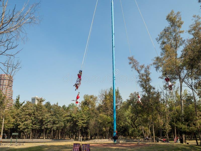 Danza de los Voladores Dance of the Flyers, Palo Volador flying pole, ceremony, ritual. Mexico City, Central America, January 2018 [Danza de los Voladores Dance stock photos