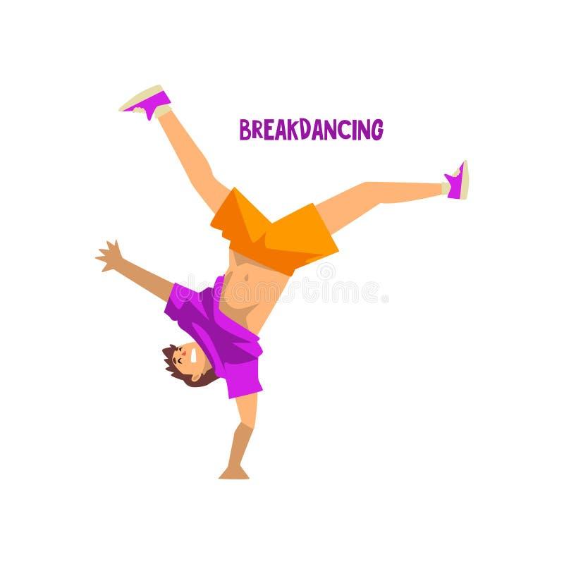 Danza de rotura del baile del hombre joven bailarín del breakdance que hace el ejemplo del vector de la posición del pino en un f ilustración del vector