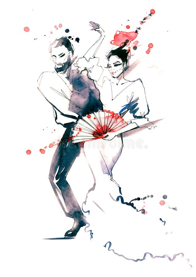 danza de salón de baile stock de ilustración