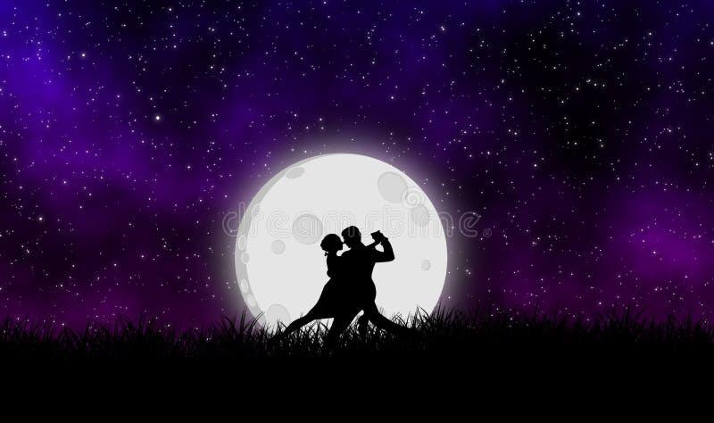 Danza del amante con la luna en el fondo del diseño del ejemplo de la noche stock de ilustración