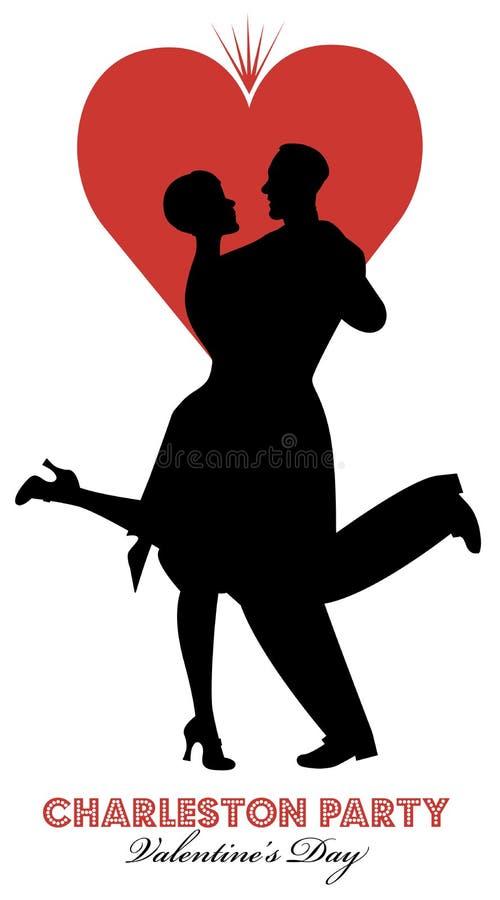 Danza del día de Charleston Party Valentine stock de ilustración