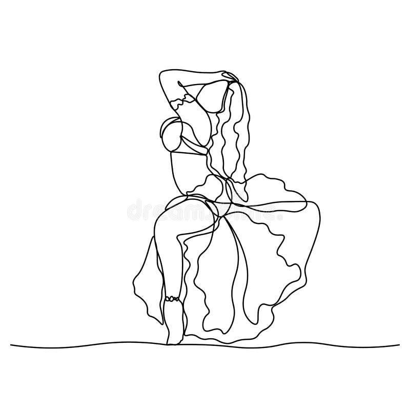 Danza del ventre Tane turco Ragazza ballante rappresentata da una linea continua Illustrazione isolata vettore illustrazione di stock