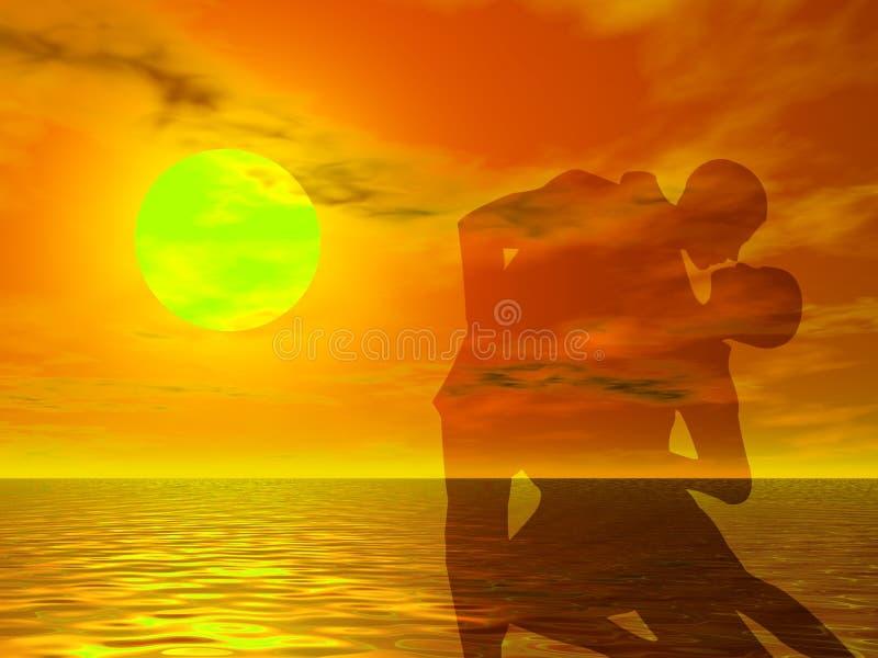 Danza en la puesta del sol stock de ilustración