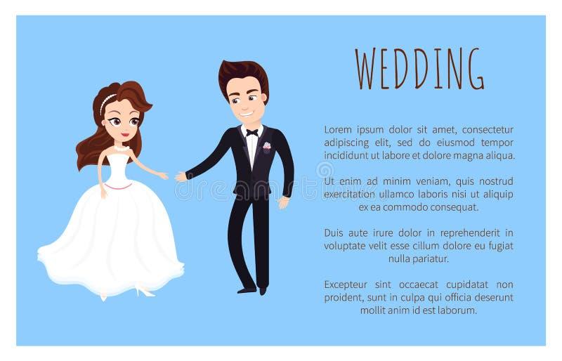 Danza feliz de los pares del recién casado de la invitación de boda, sonriendo libre illustration