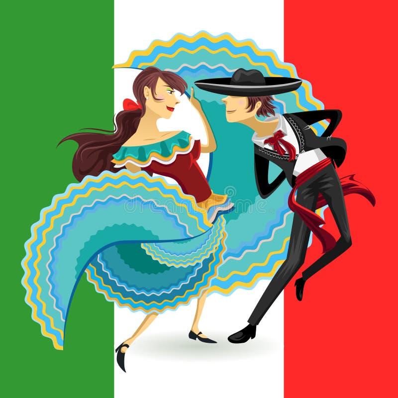 Danza nacional del sombrero mexicano de la danza de Jarabe México ilustración del vector