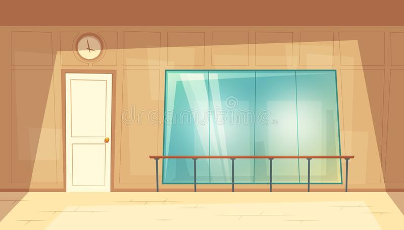 Danza-pasillo vacío de la historieta del vector con los espejos libre illustration