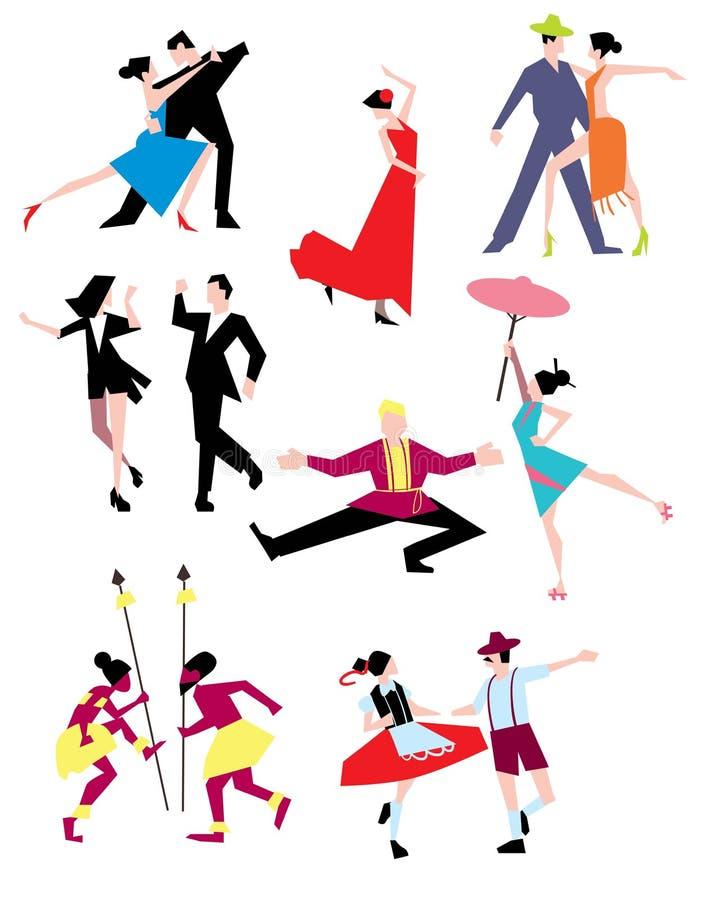 Danzas étnicas tradicionales stock de ilustración
