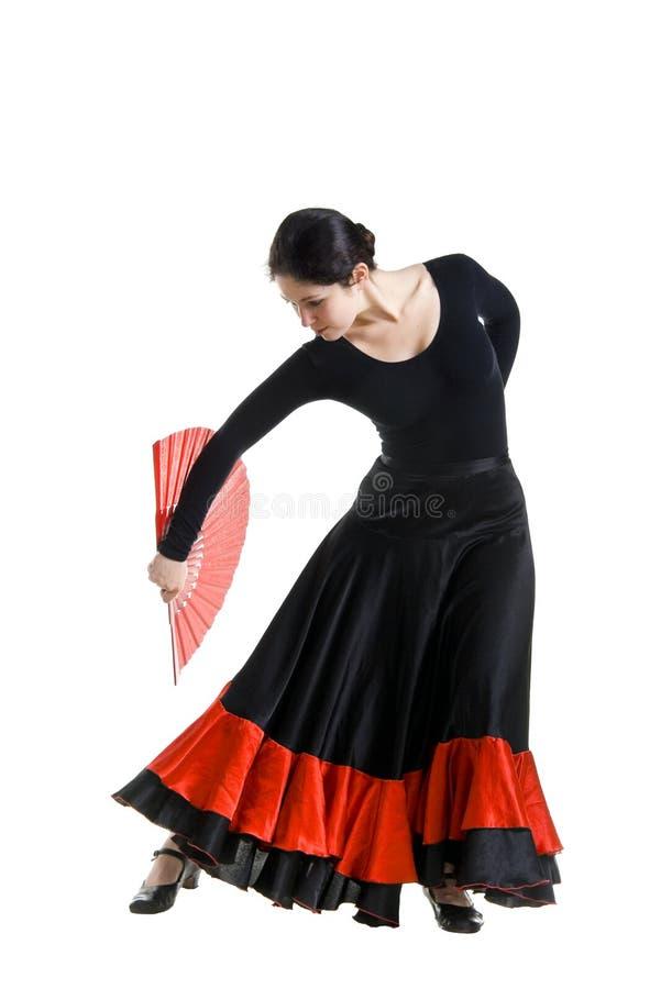 Danzatore della donna in un vestito nero dallo Spagnolo fotografie stock libere da diritti