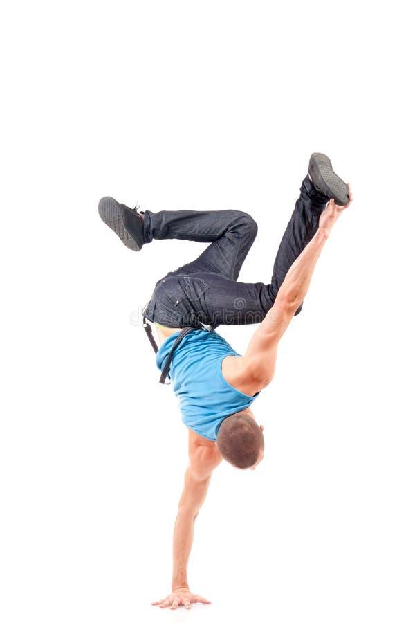 Danzatore della rottura dei giovani che mostra le sue abilità fotografie stock libere da diritti