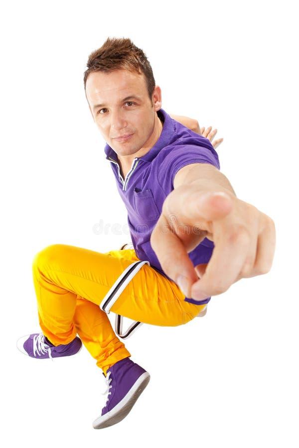 Danzatore maschio che indica voi fotografia stock libera da diritti