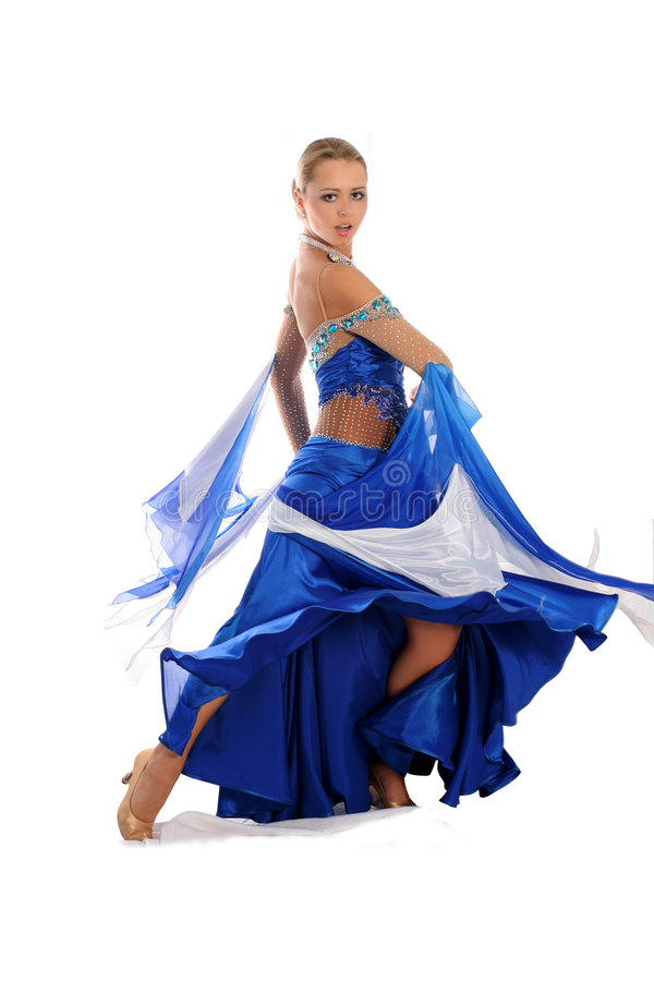 Danzatore in vestito blu-bianco fotografia stock