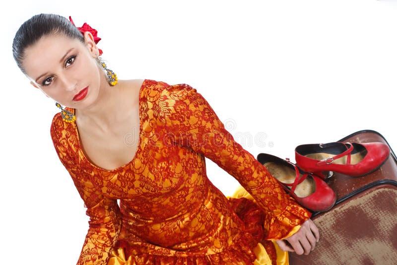 Danzatori di flamenco con i pattini rossi fotografia stock libera da diritti