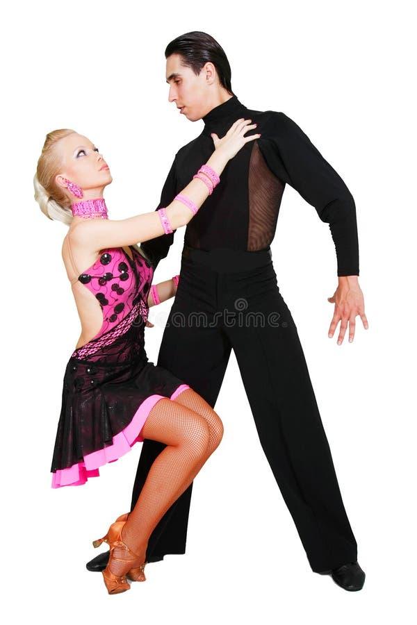 Danzatori latini sopra bianco immagine stock