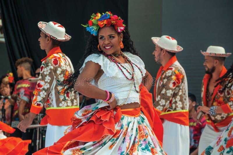 Danzatrice folk femminile che danza tipica immagini stock libere da diritti