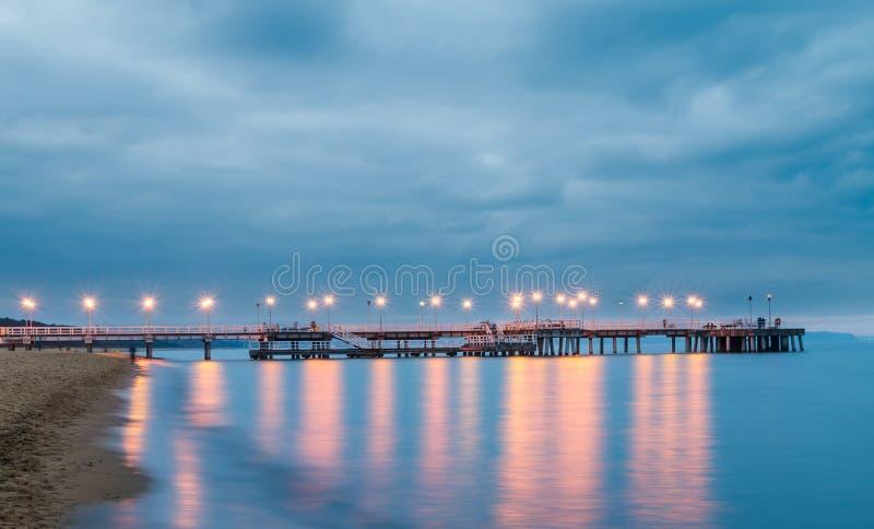 DANZICA, POLONIA, AGOSTO 2014 Tramonto sulla spiaggia baltica immagini stock