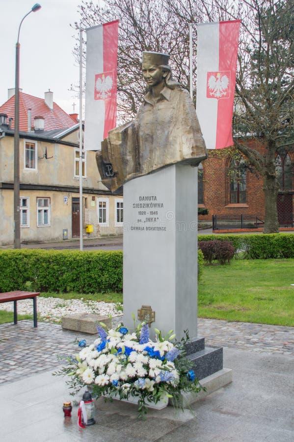Danzica, Polonia - 27 aprile 2017: Il monumento dell'eroina nazionale Danuta Siedzikowna sa come Inka con il nome sotterraneo: Da immagine stock