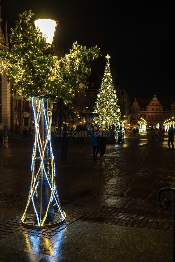 Danzica, Polonia - 13 dicembre 2018: Decorazioni di Natale nella vecchia città di Danzica, Polonia immagine stock