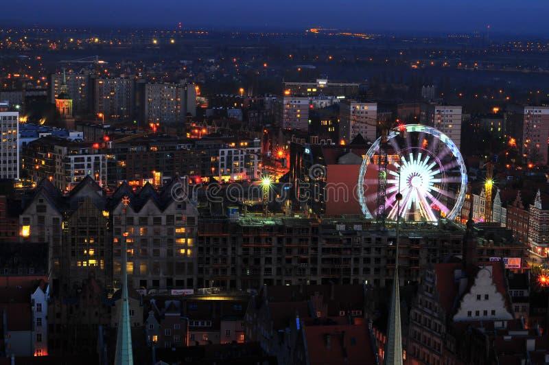 Danzica, Polonia, il 2 dicembre 2017 Vista della città, paesaggio urbano della vista di Danzica dalla torre della basilica di St  fotografie stock libere da diritti