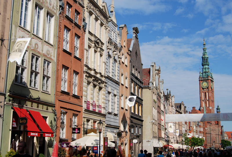 Danzig, Pologne : Manoirs de Dluga Targ photos stock