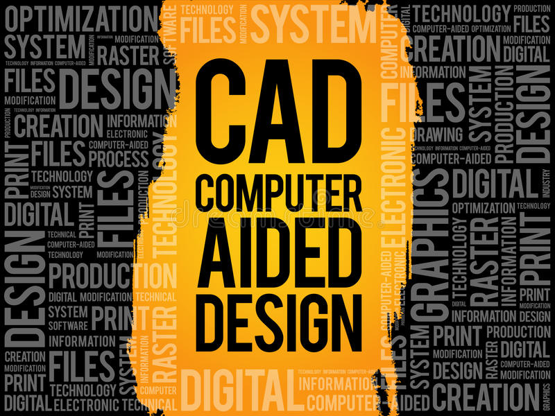 DAO - Nuage de mot de conception assistée par ordinateur illustration libre de droits